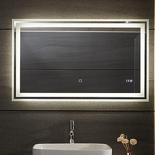 Aquamarin® Miroir de Salle de Bain LED - CEE: A++, Tactile, Mural, 3 en 1 Éclairage Blanc Froid/Chaud/Neutre, Anti-Buée, H...