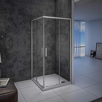 Mampara de Ducha Angular cabina de ducha mampara de ducha cuadrada Puerta Corredera Cristal 5 MM perfilería gris mate 80x80x185cm: Amazon.es: Bricolaje y herramientas