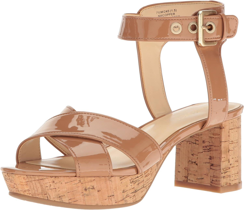 Nine West Womens Copper Patent Dress Sandal