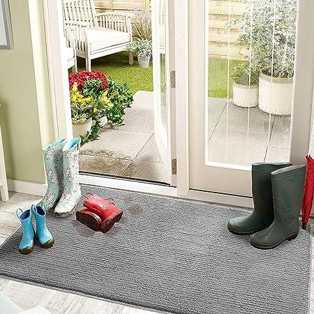 """Color&Geometry Indoor Door Mat Entryway Rug Floor Mats for House, 20""""x32"""" Welcome Doormat for Front Door Inside Outside Entry Outdoor Entrance Shoe Mat, Non Slip Machine Washable Low-Profile (Grey)"""