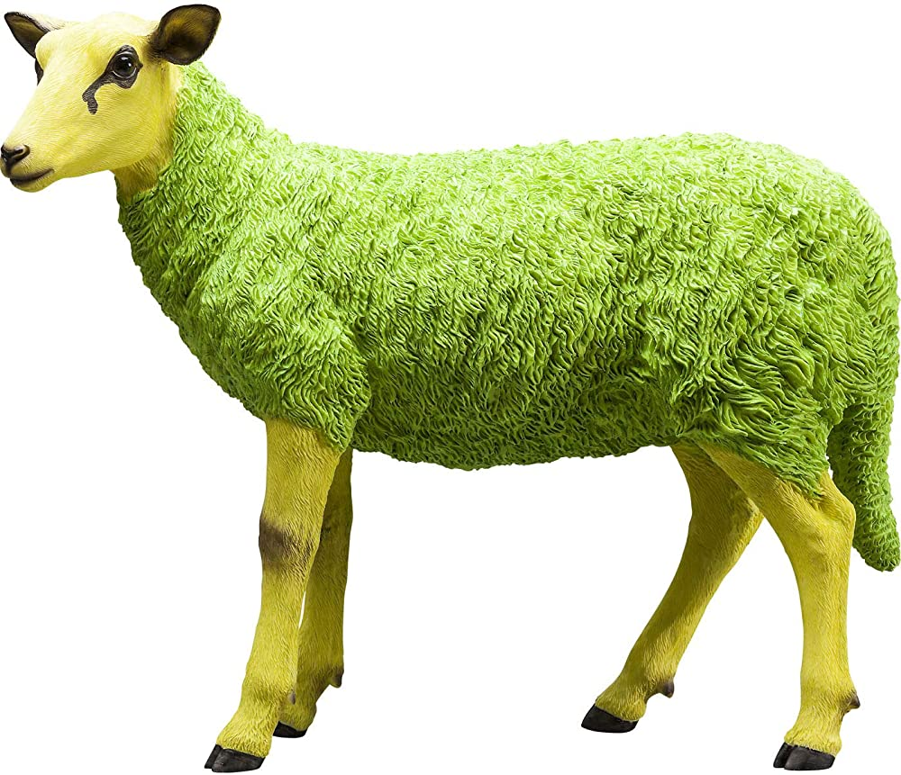 kare design,pecora colorata in giallo e verde,59.5 x 49 x 21 cm,figura decorativa sheep,in poliresina 38134