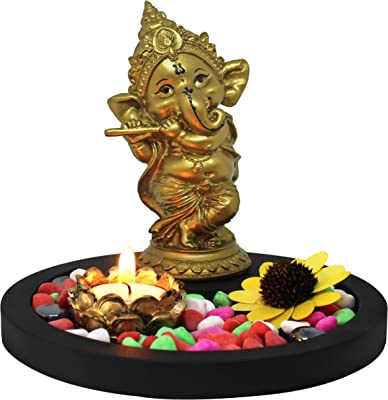 TIED RIBBONS Ganesha Statue Playing Bansuri Figurine with Stones on Wooden Tray Center Piece - Decorative Item for House Warming Home Decoration
