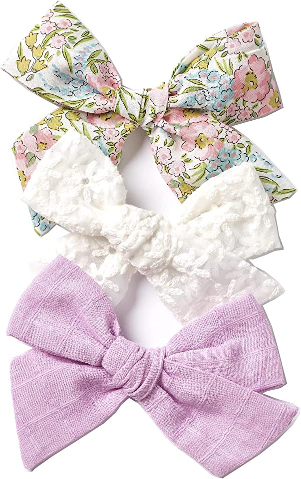 Bows, Handmade Claire Bow, Solid Embroidered Stripe