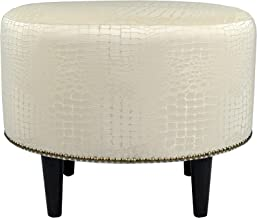 MJL Furniture Designs Sophia Collection Fabric Upholstered Round Footrest Ottoman with Round Espresso Finished Legs, Tillie Series, Ecru