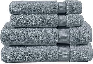 EuroSpa | Luxury 4 Piece Zero Twist Bath Towel Set | 100% Cotton Quick Dry | Highly Absorbent Bathroom Towels | Ultra Super Soft | Large - 650 GSM (2 Piece 30X60 and 2 Piece 16X24 ) | Grey