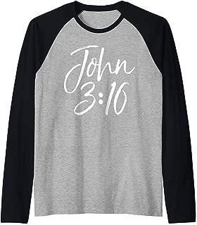 Christian Bible Verse Gift Scripture Reference John 3:16 Raglan Baseball Tee
