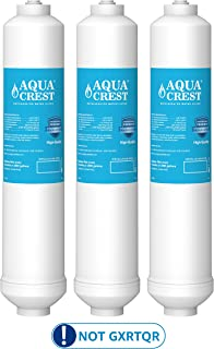 AQUACREST GXRTDR Inline Water Filter, Compatible with GE GXRTDR, Samsung DA29-10105J, Whirlpool WHKF-IMTO, Reduces Chlorine, Fluoride, Limescale and More, For Refrigerator, IceMaker, RVs (Pack of 3)