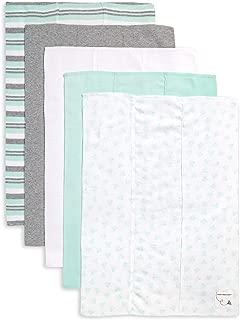 Burt's Bees Baby - Burp Cloths, 5-Pack Extra Absorbent 100% Organic Cotton Burp Cloths, Seaglass Green Prints