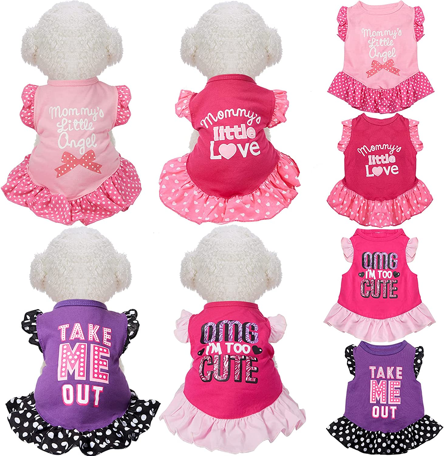 Large-scale sale 4 Pieces Pet Dress Shirt Complete Free Shipping Sundress Printed Dog Cute Princess