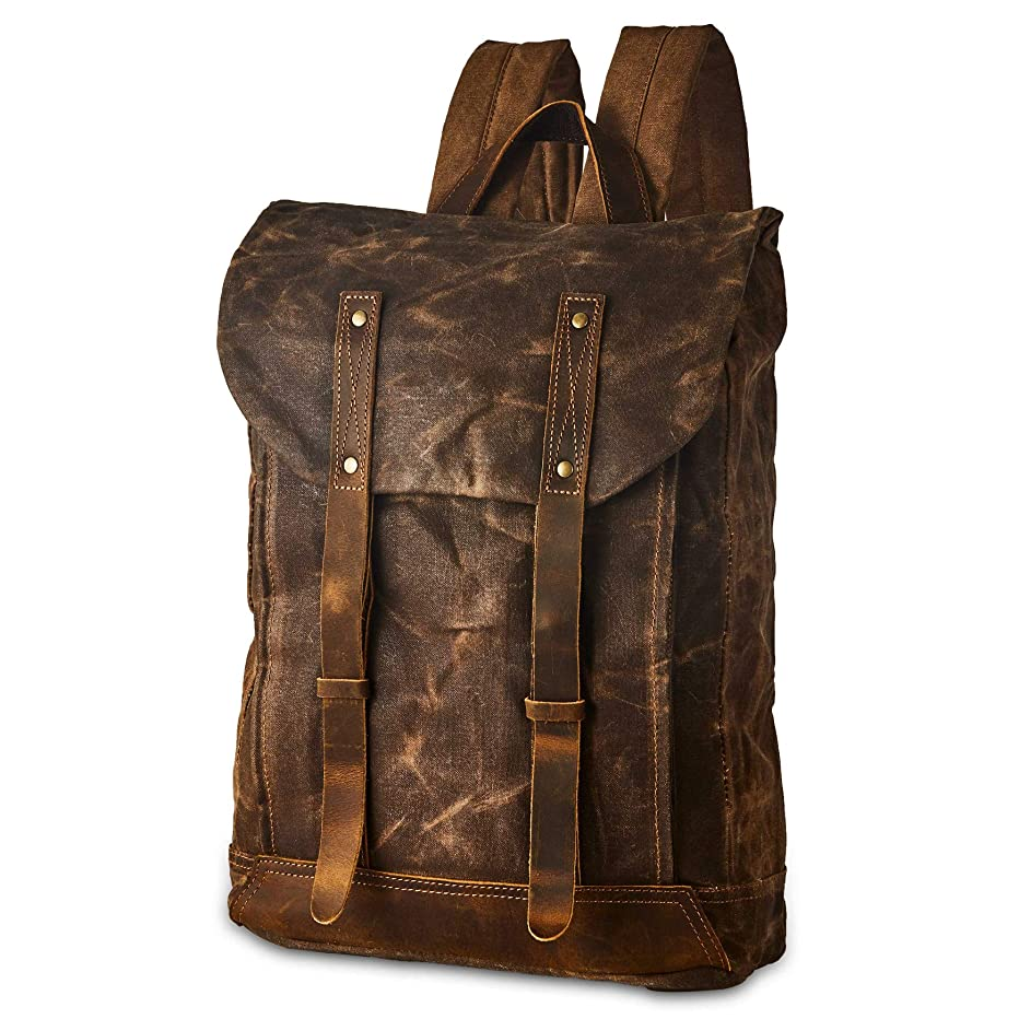 BRASS TACKS Leathercraft Men's Waxed Canvas Backpack Casual 15.6