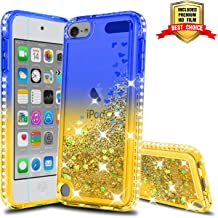 iPod Touch 7 Phone Case, iPod Touch 6 Case, iPod Touch 5 Case with HD Screen Protector for Girls, Atump Glitter Liquid Clear Diamond TPU Phone Case for Apple iPod Touch 7th/ 6th/ 5th Gen Blue/Yellow