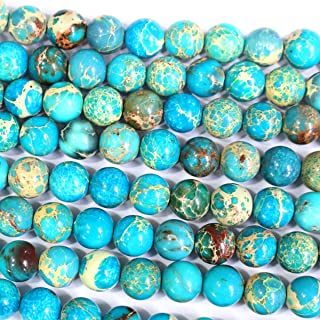 Natural Genuine Blue Sea Sediment Jasper Round Gemstone Jewelry Making Loose Beads (10mm)