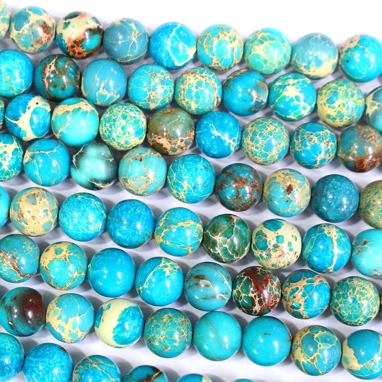 Natural Genuine Blue Sea Sediment Jasper Round Gemstone Jewelry Making Loose Beads (8mm)