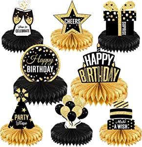8 Pieces Happy Birthday Party Decorations Supplies Birthday Honeycomb Centerpieces Birthday Table Toppers for Birthday Party Favor Photo Booth Props, Black and Gold