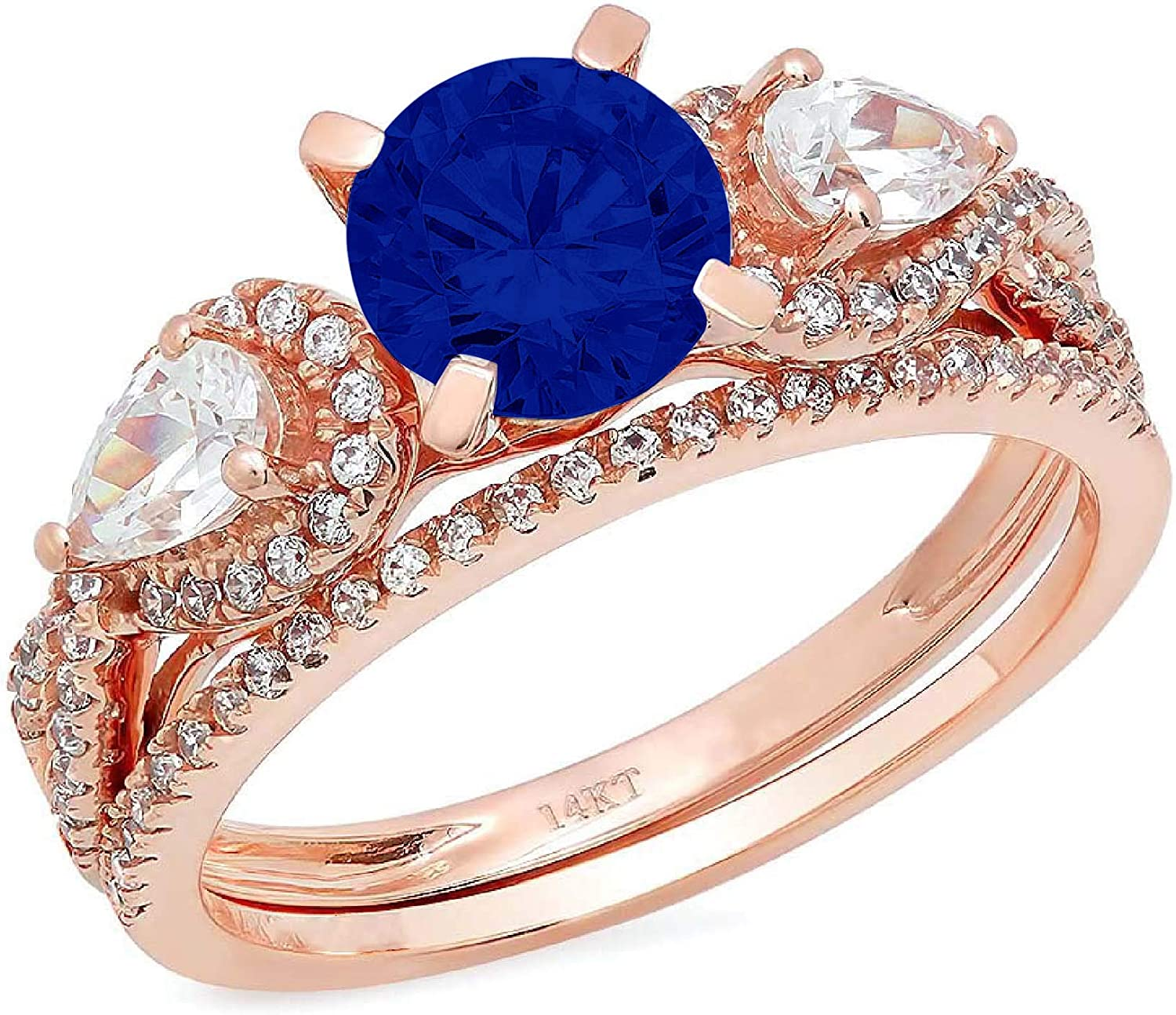 2.0ct Round Pear Cut Solitaire 3 stone Accent Flawless Simulated Blue Sapphire Engagement Promise Statement Anniversary Bridal Wedding Designer Ring Band set Solid 14k Rose Gold