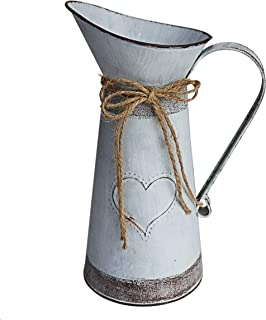 MISIXILE Vintage Metal Large Pitcher Vase with Heart-Shaped, Primitive Jug Pitcher Flower Vase for Farmhouse Decor -10.6