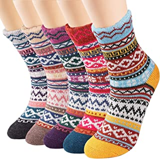 AUGOLA, AUTOROLA Calcetines Mujer Invierno, 5 Pares Calcetines Termicos Mujer Calcetines Navidad para Niña y Mujer