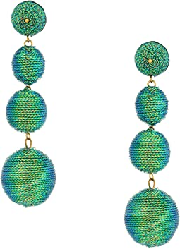 Kenneth Jay Lane - 3 Green Thread Small To Large Wrapped Ball Pierced Earrrings W/ Dome Top