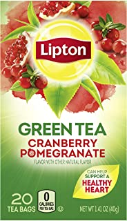 Lipton Green Tea Bags Flavored with Other Natural Flavors Cranberry Pomegranate Can Help Support a Healthy Heart 1.13 oz 20 Count