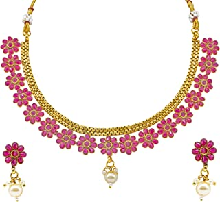 Jewelsiya Gold Plated Kundan Flower With White Beads Necklace Jewellery Set Earring For Womens And Girls