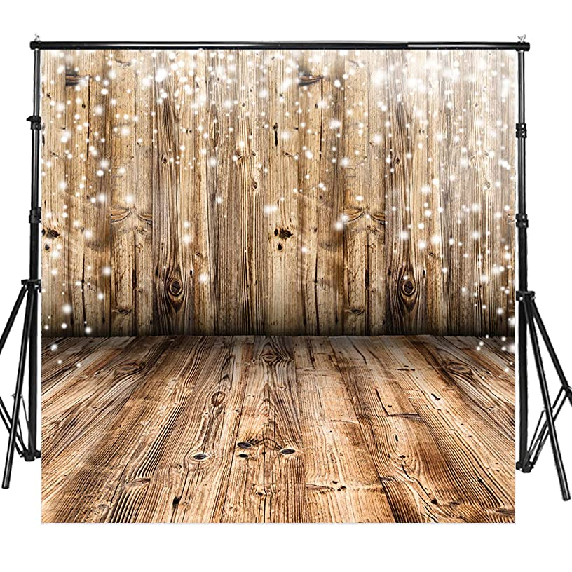 Sensfun Vinyl Rustic Wood Floor Photo Backdrops for Wedding Smash Cake Birthday Party Children Newborn Retro Wooden Wall Photography Background Portrait Photobooth Studio Props(ZK007/8x8ft)