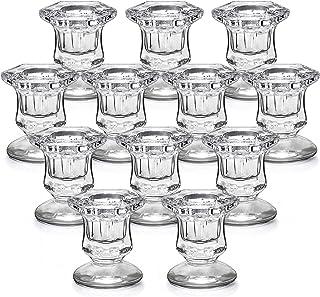 Lanttu Candlestick Holders Bulk,Glass Candle Holders Set Clear,Crystal Pillar Candle Holders for Wedding,Table Centerpiec...