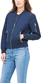 Women's Poly Bomber Jacket with Contrast Zipper Pockets