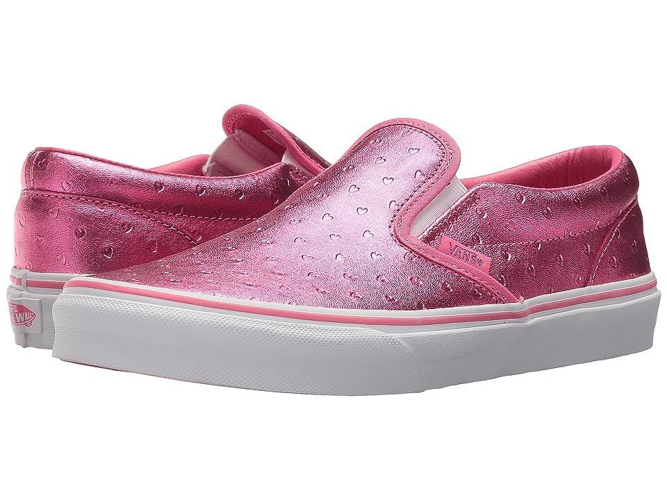 Vans Kids Classic Slip-On (Little Kid/Big Kid) ((Metallic Hearts) Emboss/Hot Pink) Girls Shoes