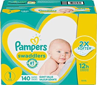 Pampers Swaddlers Pañales Desechables Recién Nacido, Talla 1 (4 - 6 Kg ), Pack gigante- 140 Piezas
