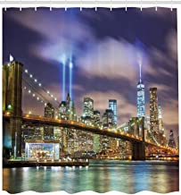 Apartment Decor Shower Curtain Set, Manhattan Skyline with Brooklyn Bridge and The Towers of Lights in New York City, Bath...