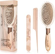 3pcs Gift Set | Detangling Hair Brush for Wet or Dry Hair, Hair Brush for Women Men and Girls | Rat Tail Teasing Comb for Volume | Double Sided Nail File for Manicure Pedicure