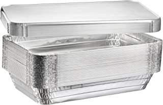 "Full Size Deep Steam Table Pans, Disposable Aluminum Chafing and Catering Pans (21"" x 13"" x 3"") (10, With Lids)"