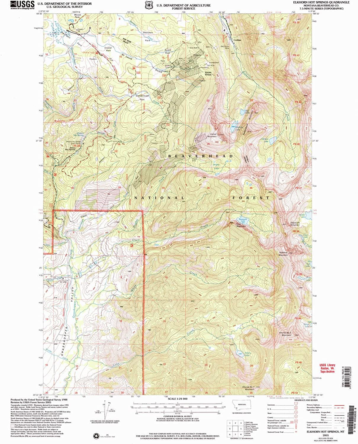 Elkhorn Hot Springs MT topo map, 1 24000 Scale, 7.5 X 7.5 Minute, Historical, 2005, Updated 2005, 26.8 x 22 in