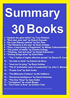 Resume and Exercises 30 Books: The 4-hour Workweek, Mindset the new psychology of success, Rich dad, poor dad, Flow, a psychology of happiness, The 7 habits ... of highly effective people,The Power of Now