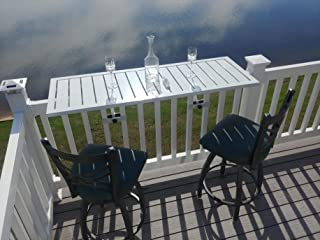 Deck Rail Table | Fits Patio or Deck Railing As A Dining Table, Side Table or Bar top | Aluminum With Simple Attaching Bracket System (White)