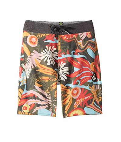 Volcom Kids Tripped Boardshorts (Big Kids) (Dark Olive) Boy