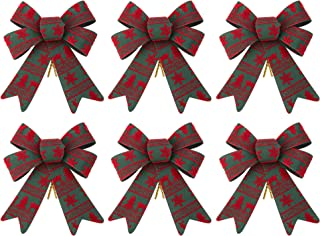 iPEGTOP 6 Pack Christmas Bows Holiday Ribbons, Red and Green Plastic Bows for Festive Ornaments Christmas Trees, Wreaths and Gifts Wrapping Indoor/Outdoor Decor