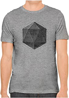 Unisex Mens Sacred Geometry Shape Hand Screen Printed Fitted Cotton T-Shirt