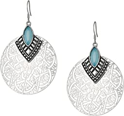 Filigree Disc with Stone Drop Earrings