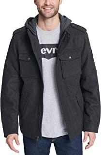 Levi's Men's Wool Blend Military Jacket with Hood