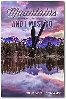 Buena Vista, Colorado - John Muir - The Mountains are Calling - Rocky Mountain National Park - Sunset and Lake - Photograph (Acrylic Wall Clock)