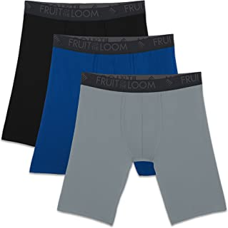Fruit of the Loom Men's Breathable Lightweight Micro-mesh Long Leg Boxer Brief Underwear (Pack of 3)