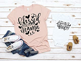 Mommy and Me Shirts Mama's Blessing Blessed Mama Shirt Baby Shower Gift Mommy and me matching shirts Mother Son Shirts Mother Daughter