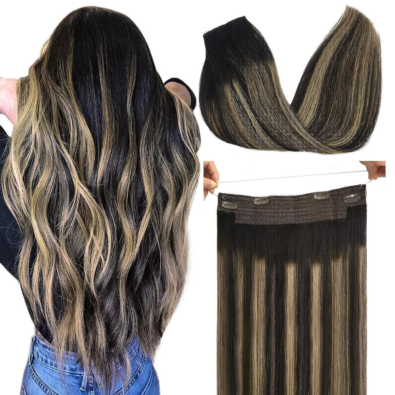 GOO Halo Very popular Hair Extensions Human Natural Balayage Portland Mall Black t