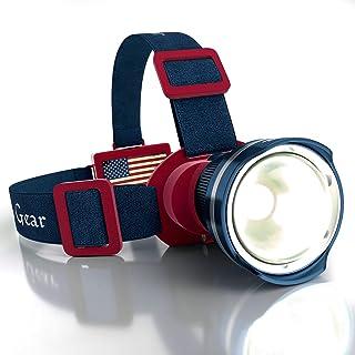 Patriotic American Flag Super Bright LED Headlamp Flashlight - Brightest Spotlight Headlight - Zoomable Tiltable Adjustabl...