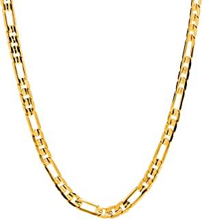 4mm Figaro Chain Necklace Men and Women 24k Real Gold...