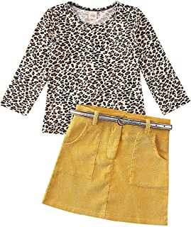 BOIZONTY Toddler Baby Girls Leopard Long Sleeve T-Shirt Tops + Yellow Mini Pencil Skirts Outfit Fall Winter Clothes Set (Yelow Leopard, 4-5 Years)