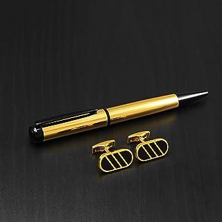 PEN & cufflink Stainless SteelS SET FOR MEN GOLD BLaCK