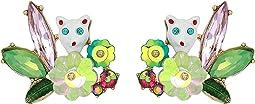 Cat Stone Cluster Stud Earrings