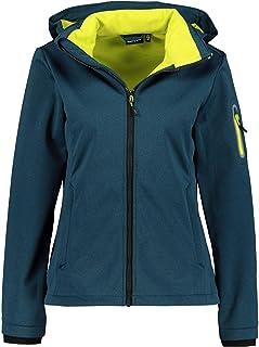 CMP Women's Softshell Jacket windfree and Waterproof, Deep Lake Mel-Lime, 16